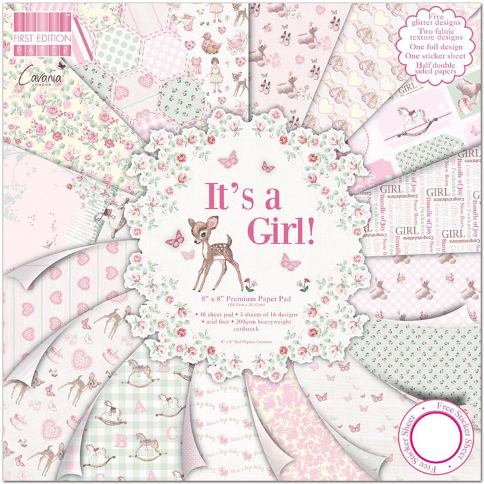 First Edition - It's A Girl - 8x8 Paper Pad