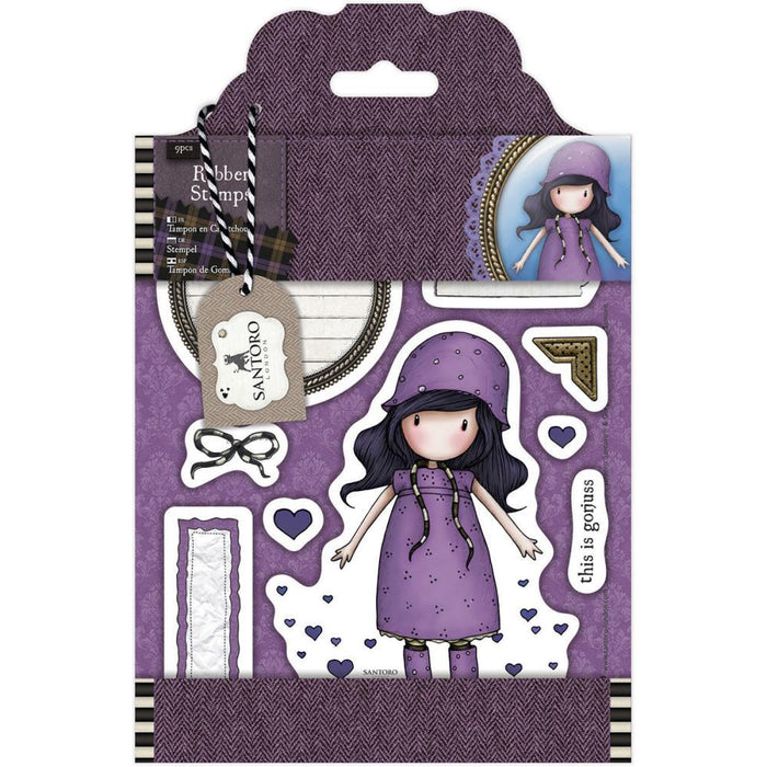 Docrafts - Gorjuss Santoro Rubber Stamps - Rainy Daze