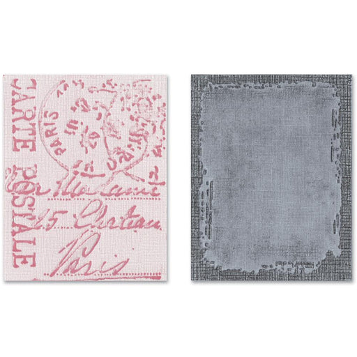 Sizzix Texture Fades Embossing Folders - Distressed Frame & Postal Set