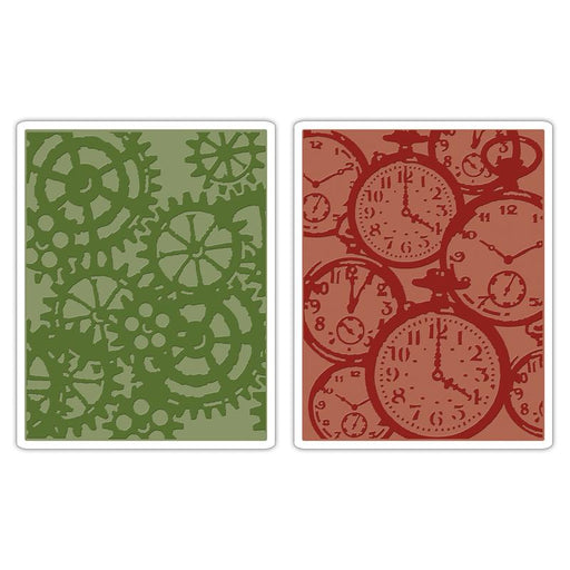 Sizzix Texture Fades Embossing Folders - Pocket Watches & Steampunk Set