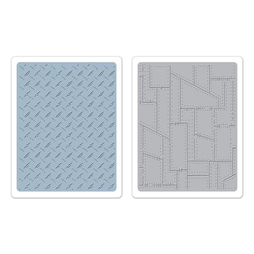 Sizzix Texture Fades Embossing Folders - Diamond Plate & Riveted Metal Set
