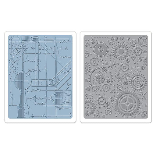 Sizzix Texture Fades Embossing Folders - Blueprint & Gears Set