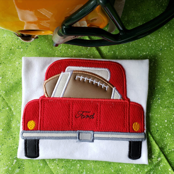 Football in a Pickup Truck Applique Embroidery Design, snugglepuppyapplique.com