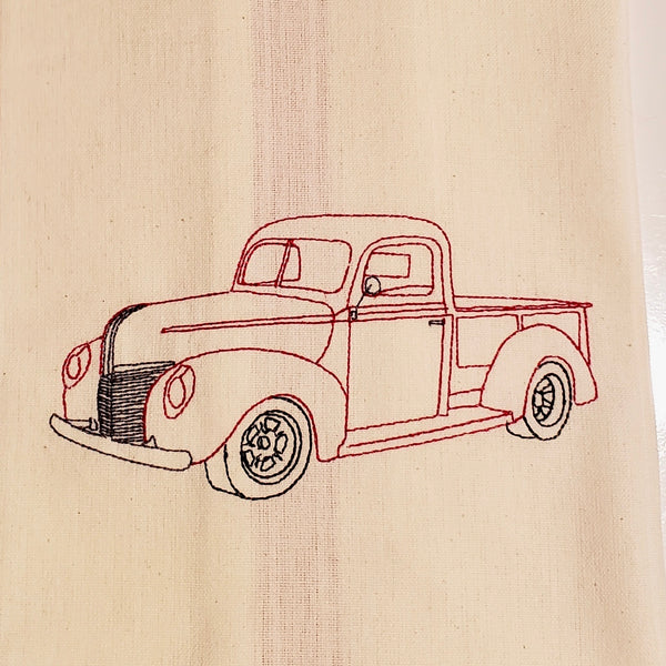 vintage Truck Bean Quick stitch embroidery Design by snugglepuppyapplique.com