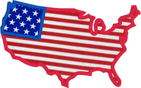 An applique of the continental united states, 4th of July, American flag by snugglepuppyapplique.com