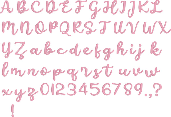 Cursive embroidery BX font in all upper and lower case letters, numbers and common punctuation.