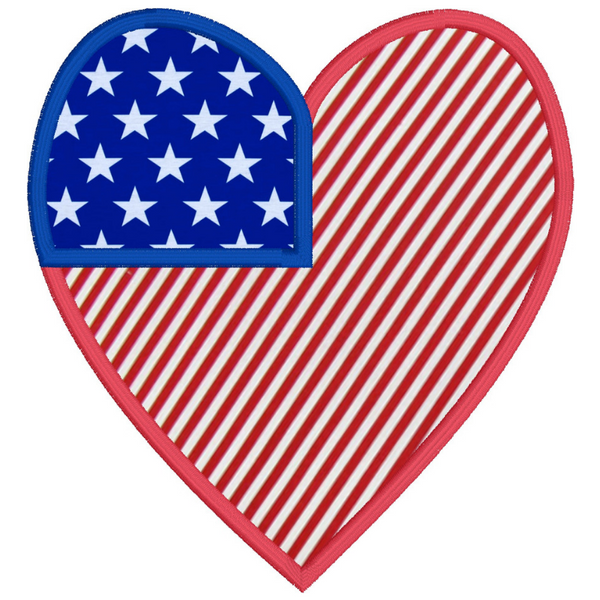 An applique of a heart made to look like an American Flag, 4th of July , snugglepuppyapplique.com