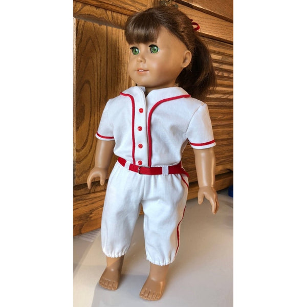 Baseball outfit sewing pattern for 18 inch doll, snugglepuppyapplique.com