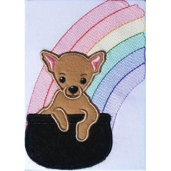 Chihuahua of Gold St. Patricks Day applique embroidery design, Chihuahua in a pot at end of rainbow, snugglepuppyapplique.com