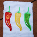 Chili pepper apple embroidery design, 3 peppers in a row, snugglepuppyapplique.com