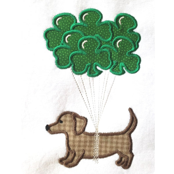 Pup with Clover balloons St. Patricks day applique embroidery design, snugglepuppyapplique.com