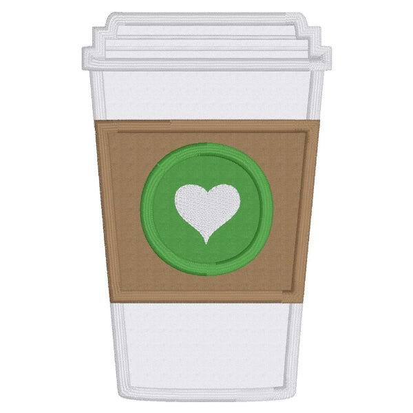 coffee applique embroidery design, paper cup of coffee with brown sleeve and heart, snugglepuppyapplique.com