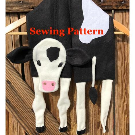 Cow Calf Scarf Sewing Pattern, for fleece, snugglepuppyapplique.com