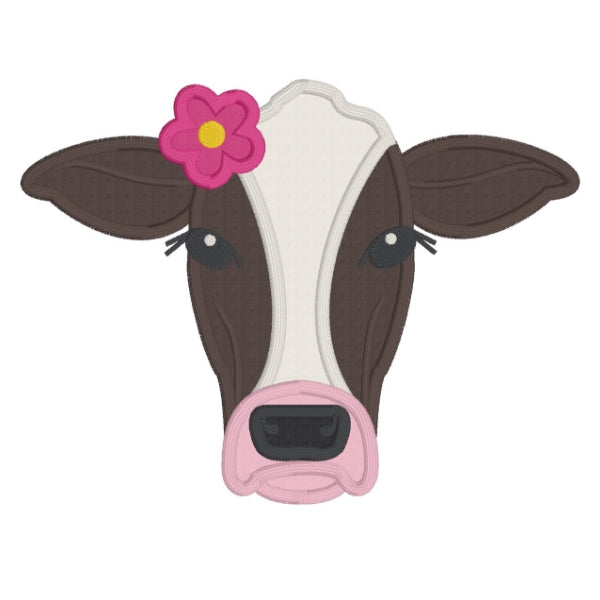 Cow applique embroidery design, cows face only with flower behind right ear, snugglepuppyapplique.com