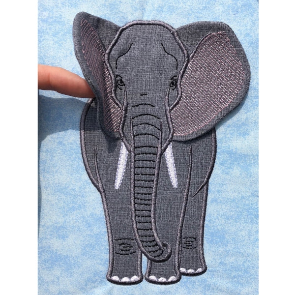 Elephant applique embroidery design, ears are made ITH and attached to head, realistic elephant, Alabama roll tide design