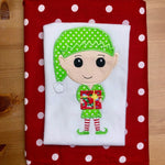 Christmas elf applique embroidery design, holding a present with hat and striped socks