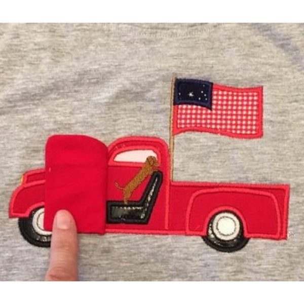 Ford truck with flag applique embroidery design with dog, door opens, made ITH, 3D