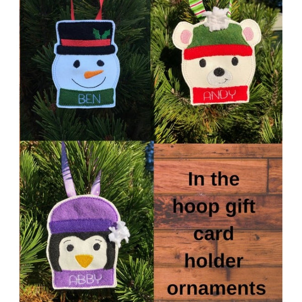 ITH gift card holders and ornaments embroidery design, set of 3, snowman, polar bear and penguin, snugglepuppyapplique.com