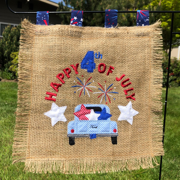 Happy 4th of July quick stitch applique embroidery design for garden flag, snugglepuppyappliqyue.com