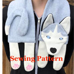 Husky Scarf sewing pattern, snugglepuppyapplique.com