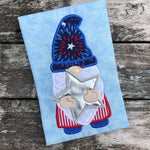 Gnome holding a star 4th of July applique embroidery design by snugglepuppyapplique.com