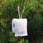 "Toilet paper Christmas ornament made of felt with ""2020"" embroidered on it by snugglepuppyapplique.com"