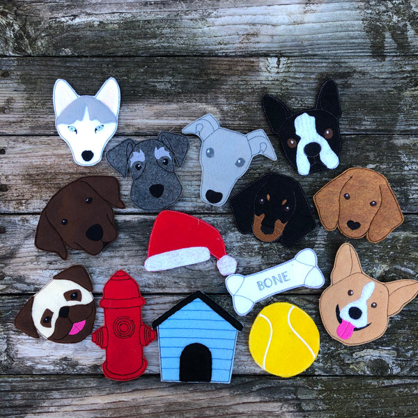 Set of dog felties by snugglepuppyapplique. husky, Labrador, Schnauzer, Boston Terrier, Dachshund, Greyhound, Pug ,Corgi, tennis ball, bone, doghouse, Santa hat, fire hydrant