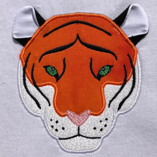 Tiger face with 3d ears applique embroidery design, snuggle puppy applique.com