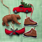 in the hoop Adventure Christmas Ornament set Embroidery Design, snugglepuppyapplique.com