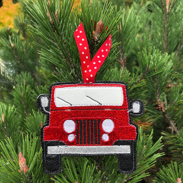 in the hoop Jeep Christmas Ornament Embroidery Design, snugglepuppyapplique.com