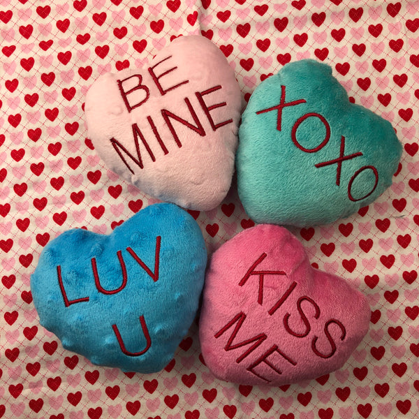 In the hoop Candy Heart Valentine Pillows by snugglepuppyapplique.com