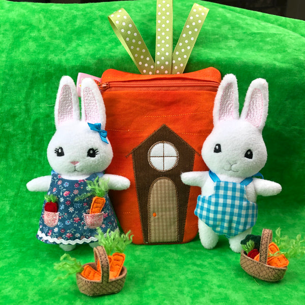 In the hoop stuffed bunnies with  clothing, baskets, vegetables and zippered carrot bag by snugglepuppyapplique.com