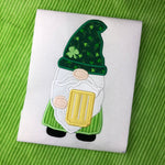 Gnome with Beer St Patricks Day Applique Embroidery Design by snugglepuppyapplique.com