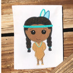 Native American girl thanksgiving applique embroidery design, Stylized girl with large head has her hands behind her back, braids, headband and two feathers, dress with fringe and necklace