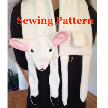 Lamb Scarf Sewing Pattern, snugglepuppyapplique.com