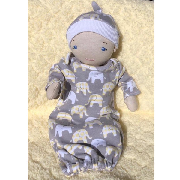 Layette sewing pattern for 12 inch doll, snugglepuppyapplique.com