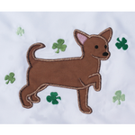 Chihuahua with shamrocks, March chihuahua applique embroidery design, snugglepuppyapplique.com