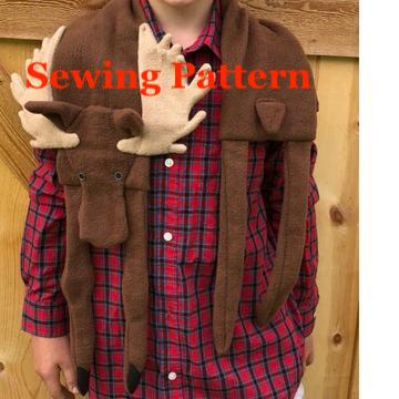 Moose Scarf Sewing Pattern, snugglepuppyapplique.coom