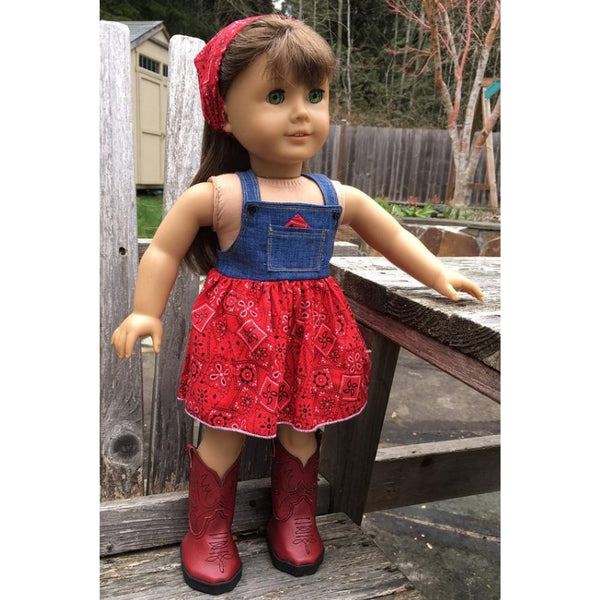 Overall dress sewing pattern for 18 inch doll, snugglepuppyapplique.com