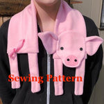 Piglet scarf sewing pattern, Pig scarf sewing pattern, snugglepuppyapplique.com