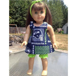 Pinafore dress sewing pattern for 18 inch or 15 inch doll, snugglepuppyapplique.com