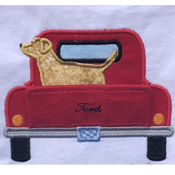 3D Pup in Pickup applique embroidery design, Truck tailgate folds down to show the rest of a dog.  Snugglepuppyapplique.com