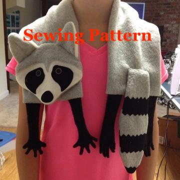 Raccoon scarf sewing pattern, snugglepuppyapplique.com