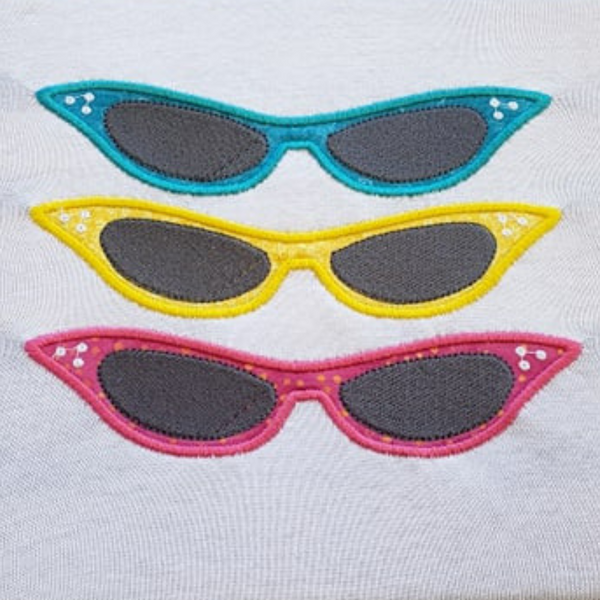 Retro Sunglasses Trio appliqué Embroidery Design, snugglepuppyapplique.com