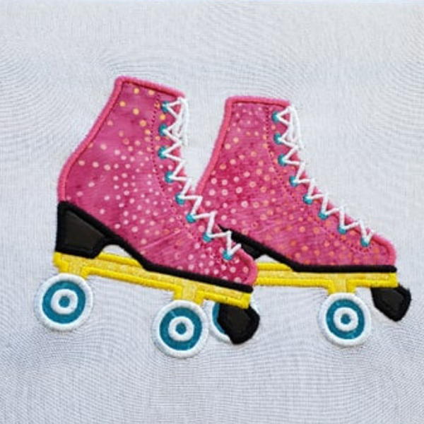 Roller Skates applique embroidery Design, snugglepuppyapplique.com