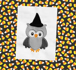Owl with witch's hat appliqué embroidery design, snugglepuppyapplique.com