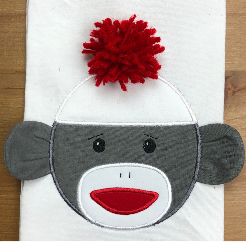 Sock Monkey Face With 3d Ears Applique Embroidery Design
