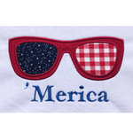 "an applique  of sunglasses with the word  ""'merica""  embroidered underneath by snugglepuppyapplique.com"