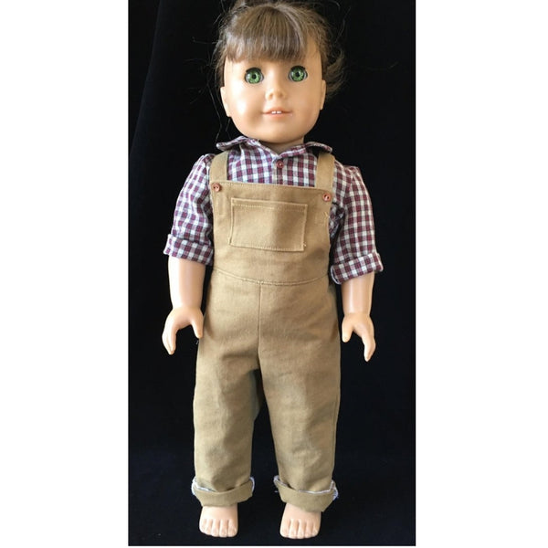 Overall sewing pattern for 18 inch doll, snugglepupppyapplique.com
