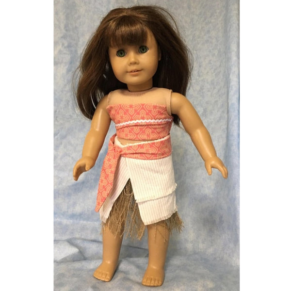 Moana inspired outfit sewing pattern for 18 inch doll, snugglepuppyapplique.com